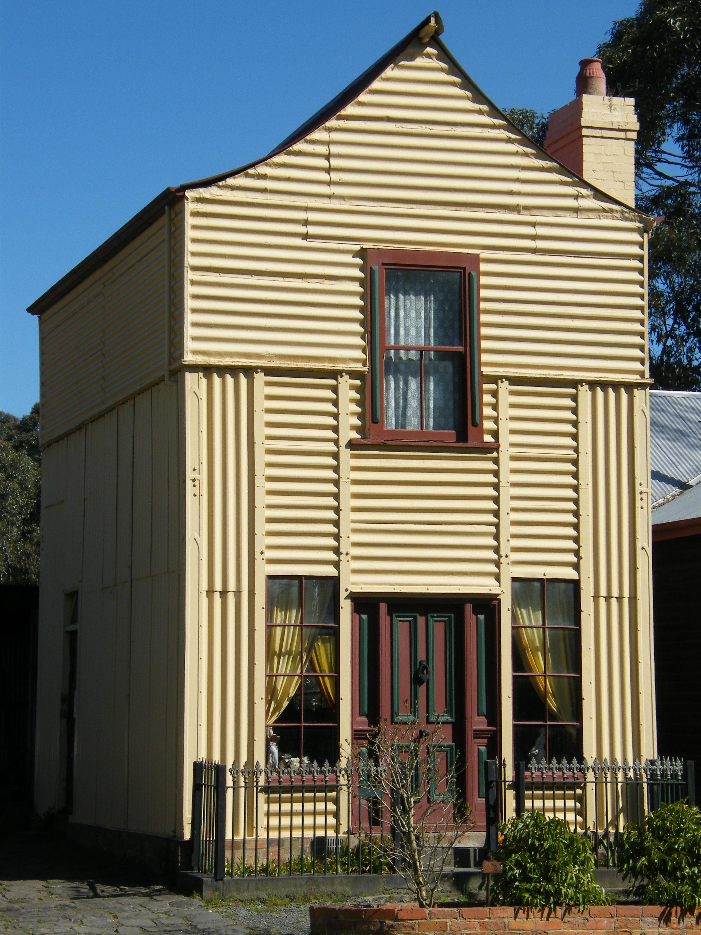 File loren iron house old gippstown jpg wikimedia commons for Modular home designs australia