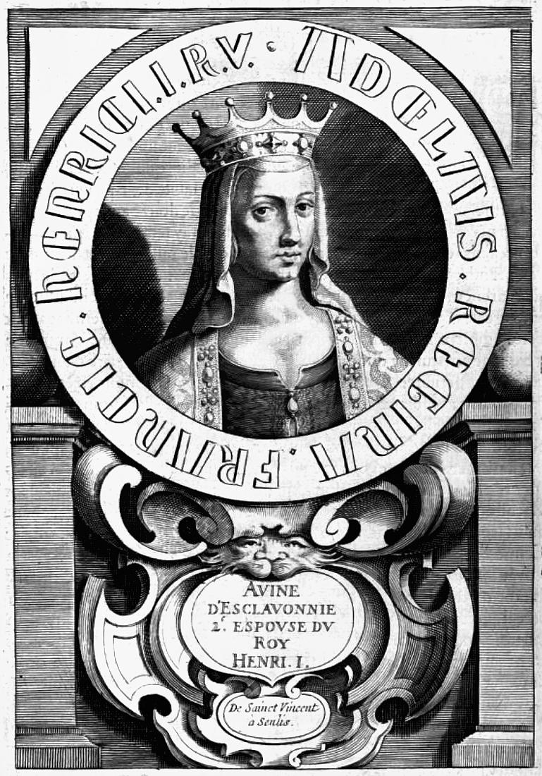 Vue d'artiste d'Anne de Kiev, d'après une effigie de l'abbaye St-Vincent de Senlis fondée par la reine. Gravure extraite de l'Histoire de France de François Eudes de Mézeray, Paris, 1643.