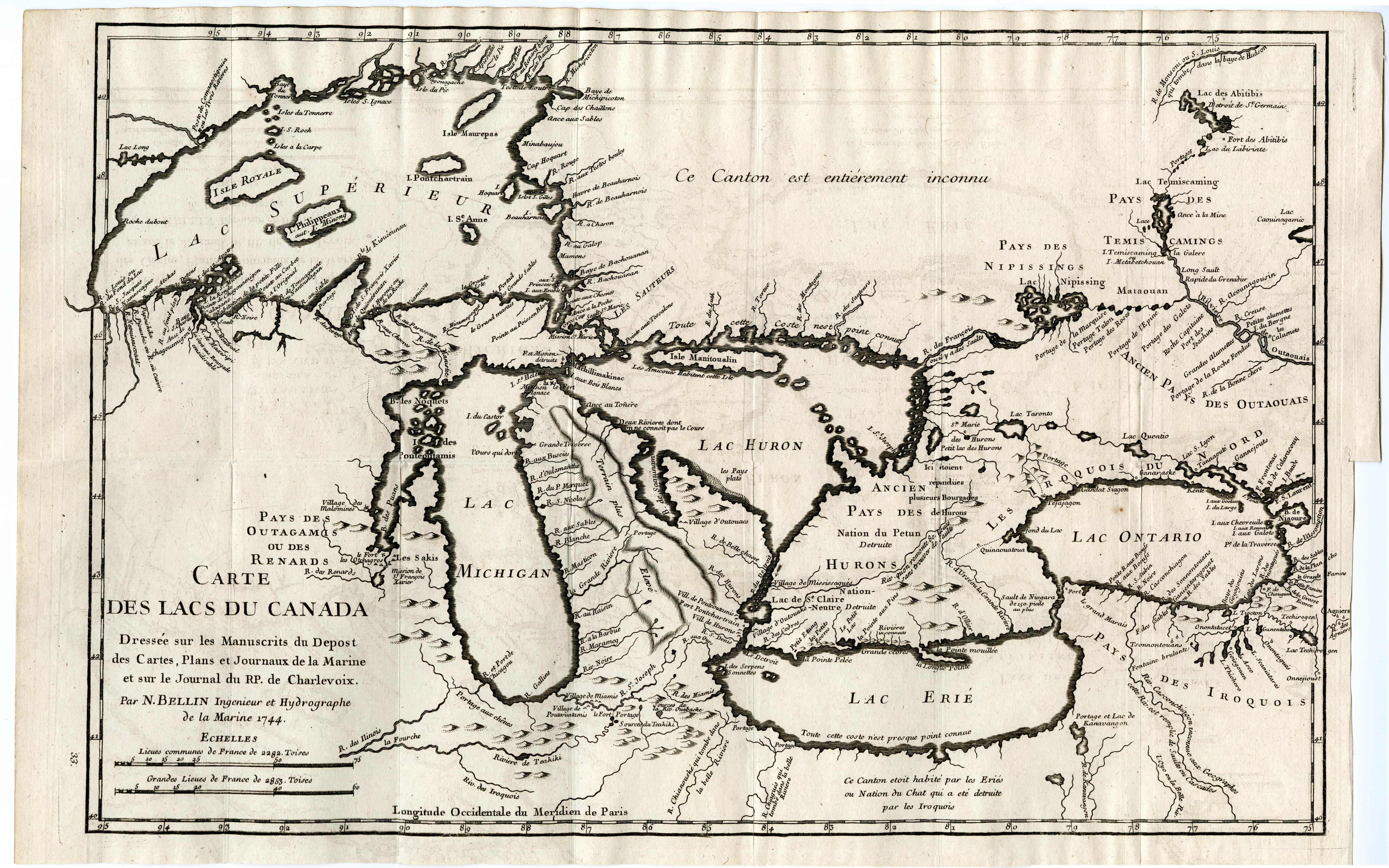 Carte Historique Canada.Fichier 1744 Bellin Map Carte Des Lacs Du Canada Jpg Wikipedia