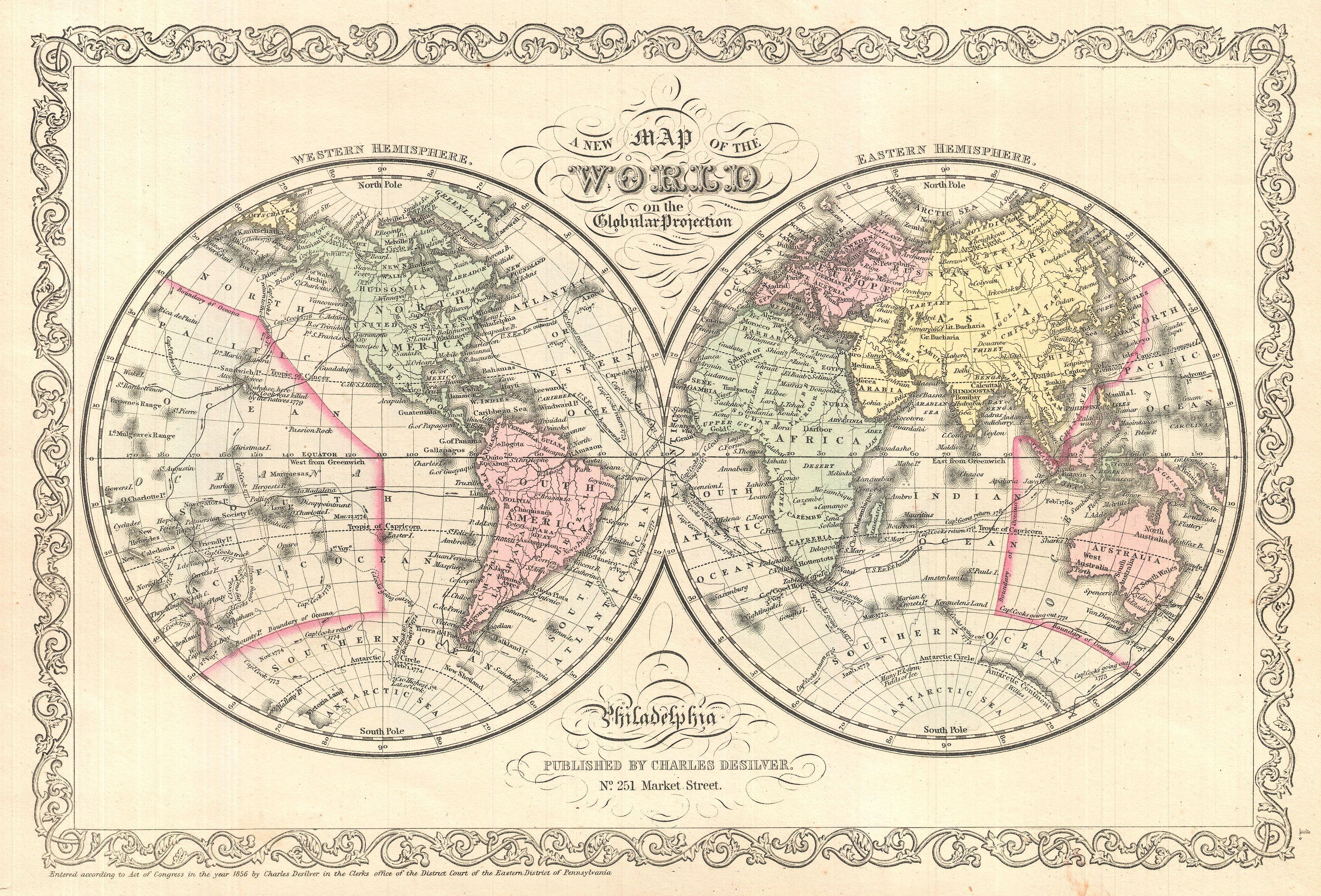 File1856 Desilver Map Of The World Geographicus World - Us Map Globular Projection