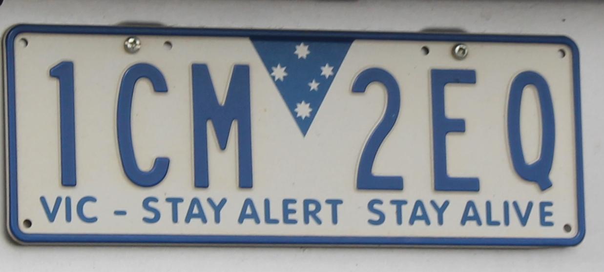 File:2013 Victoria registration plate 1CM 2EQ Stay Alert Stay Alive ...