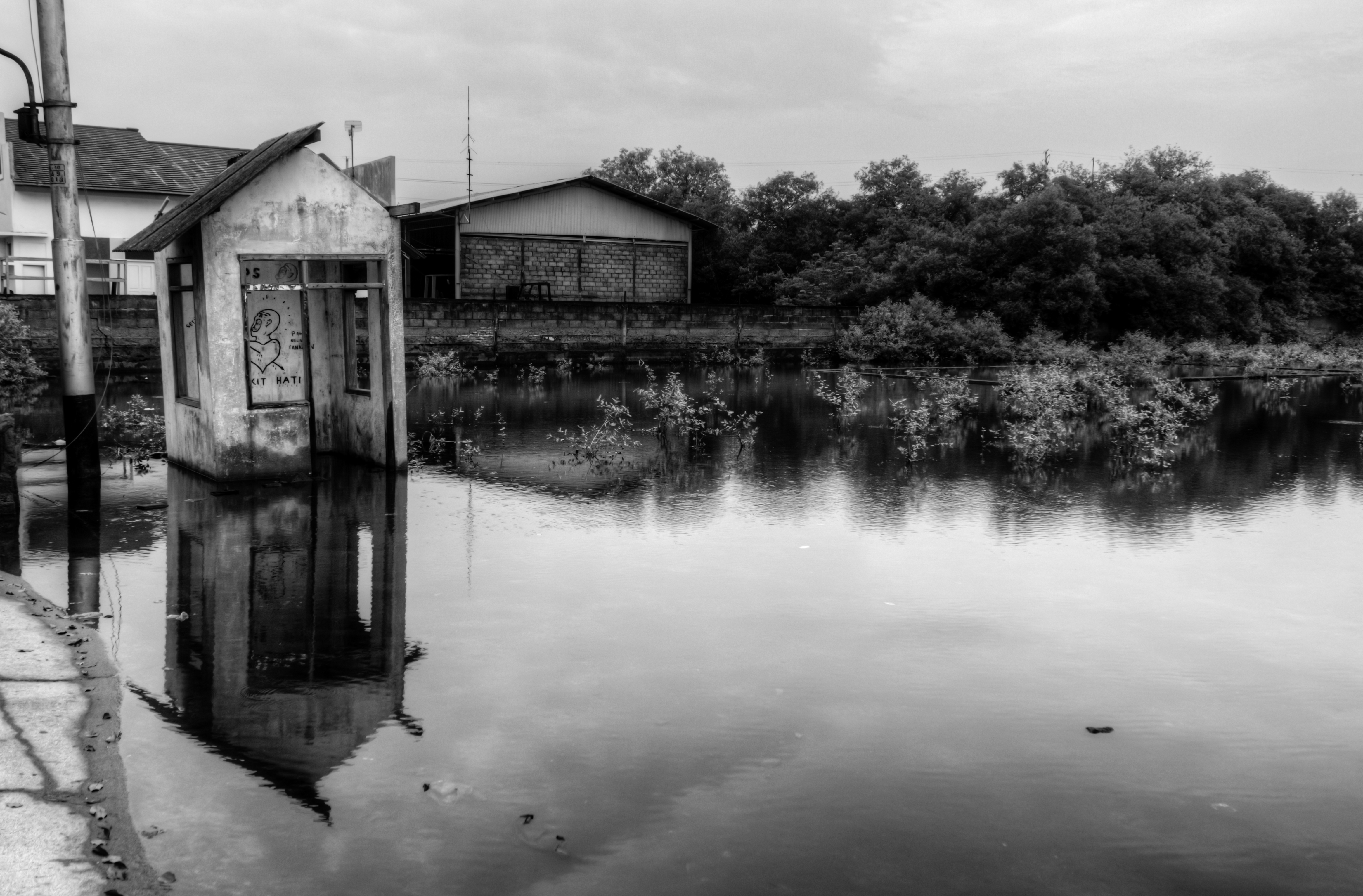 Abandoned Guardhouse In Flooded Parking Lot Tanjung Mas Harbour Semarang Full Size Image