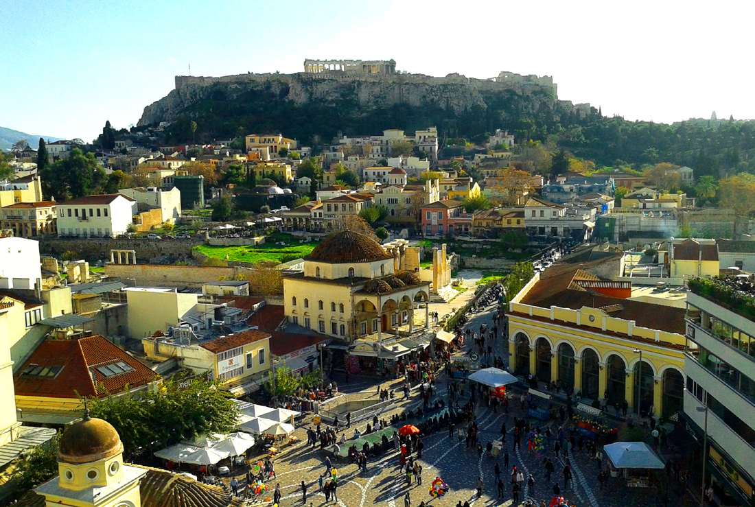 A view of the historic Plaka section of Athens