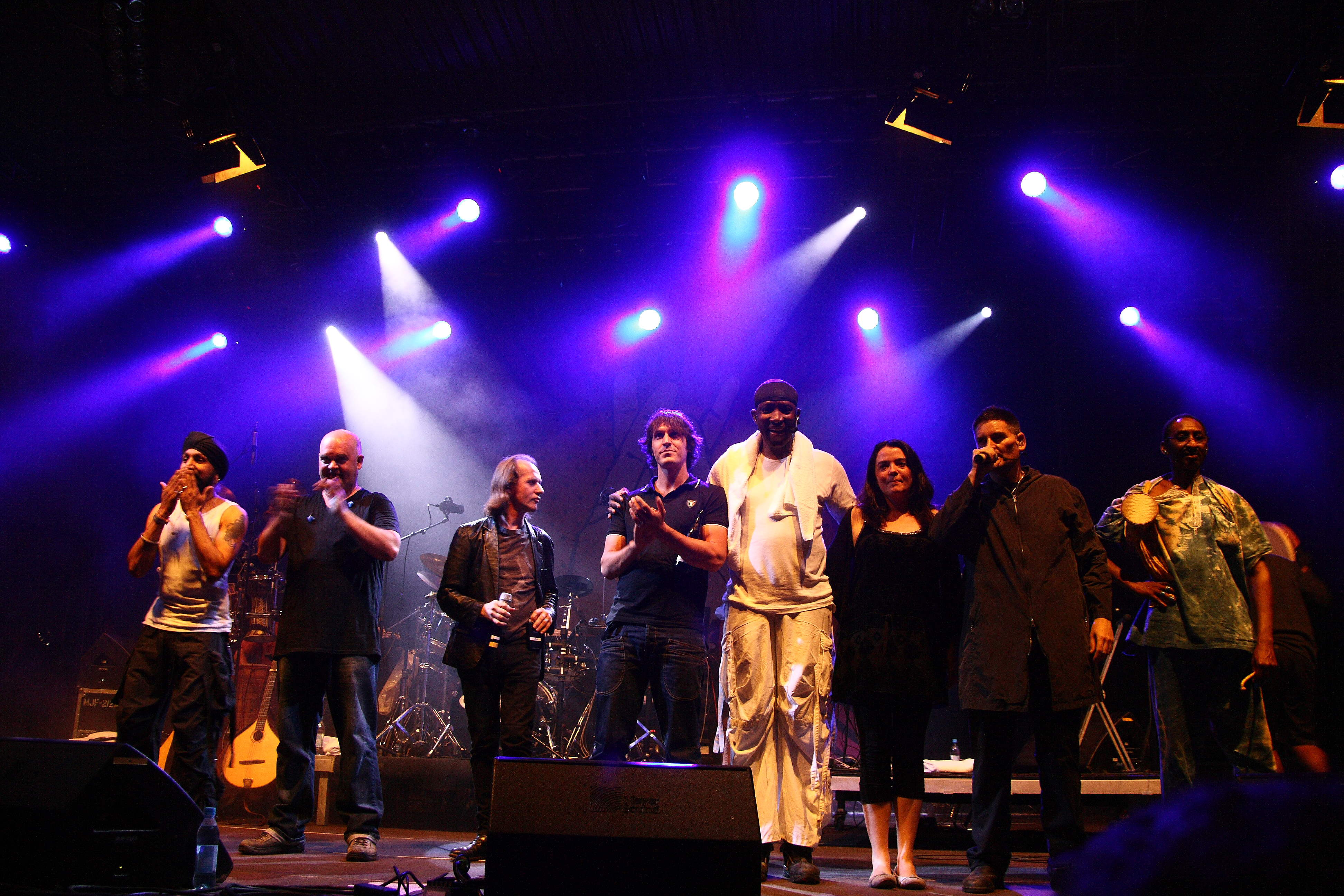 Afro Celt Soundsystem at TFF.Rudolstadt 2010. L.t.R: Johnny Kalsi, Simon Emmerson, Iarla Ó Lionáird, Ian Markin, N´Faly Kouyate, Emer Mayock, James McNally, Moussa Sissokho.