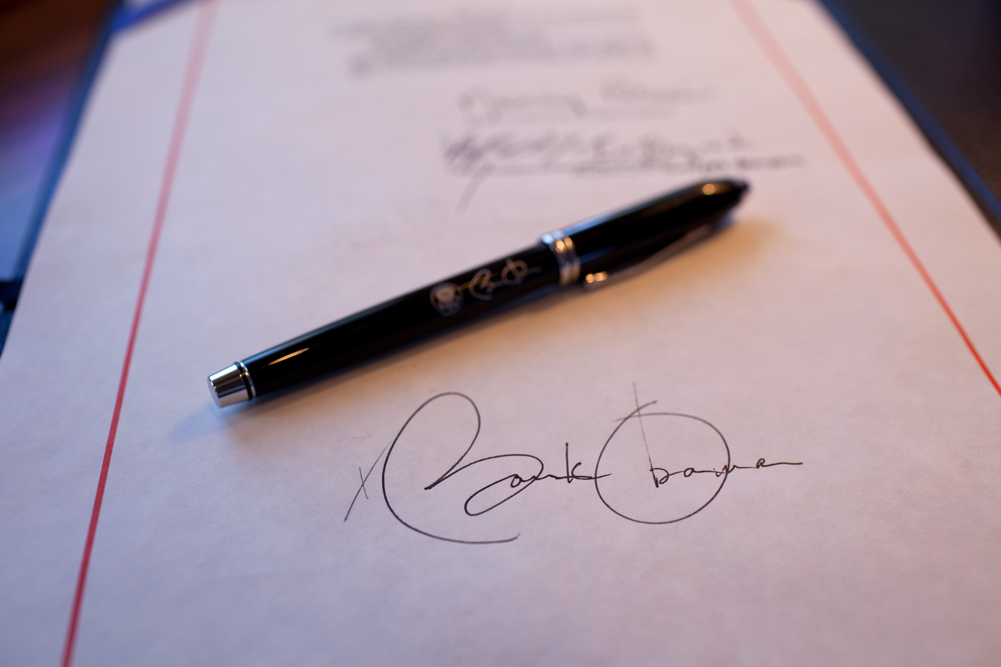 President Barack Obama's signature on a bill