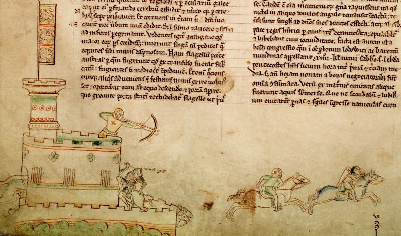 An early 13th-century drawing by Matthew Paris showing contemporary warfare, including the use of castles, crossbowmen and mounted knights