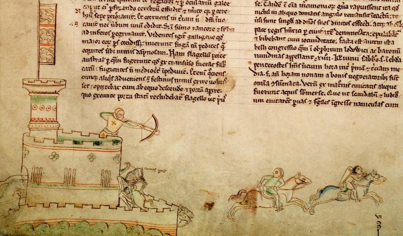 Dibujo de principios del siglo XIII, de Matthew Paris, en el que se muestran las costumbres bélicas de entonces.