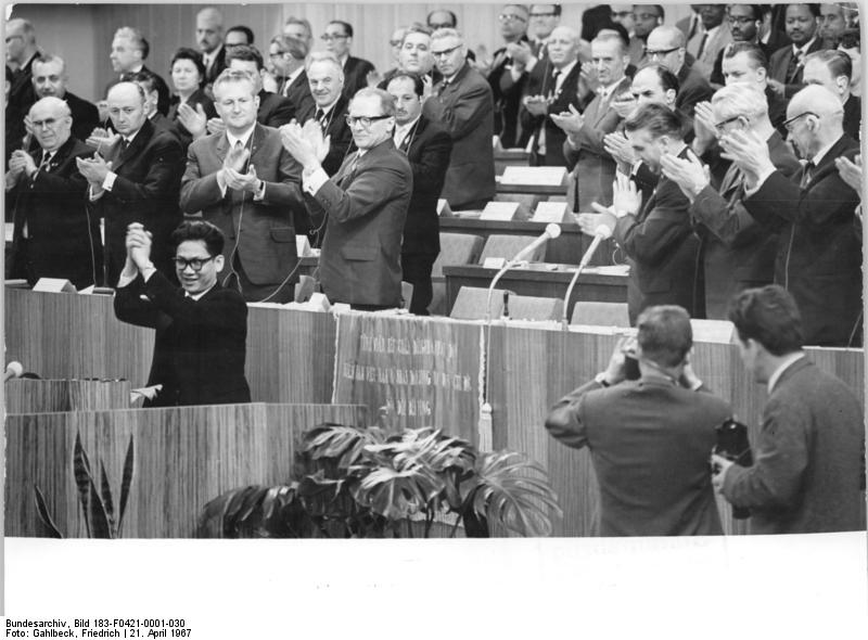 Biszku at the 7th Congress of the Socialist Unity Party of Germany in 1967