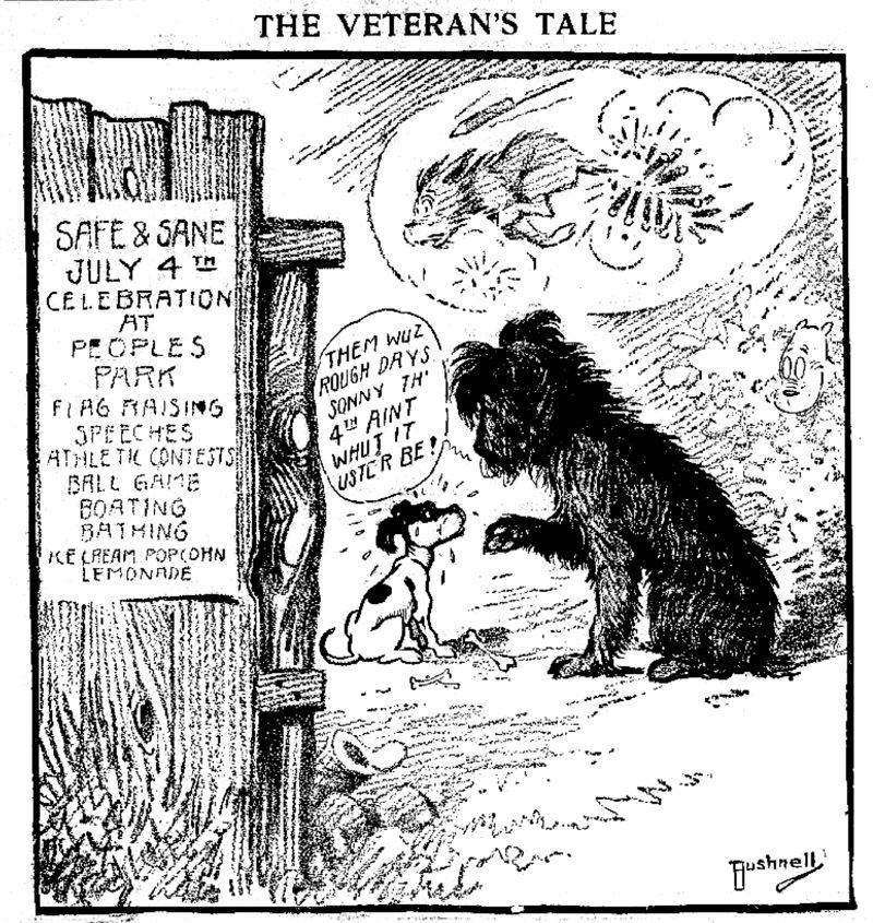 File Bushnell Cartoon About Dogs Being Afraid Of July 4 Fireworks Jpg Wikimedia Commons