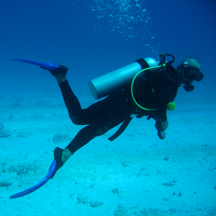 A scuba diver with all the appropriate equipment enjoying an expedition