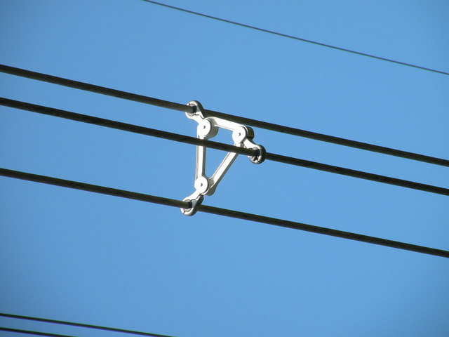 File cable spacer damper on power lines geograph