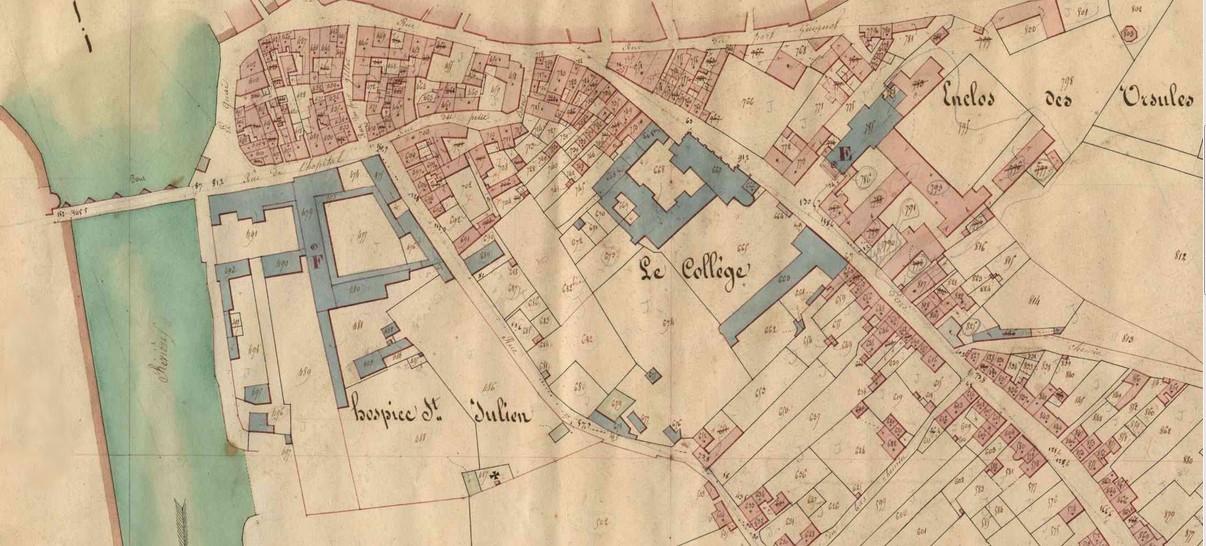 Le collège du Prieuré sur le cadastre de 1803