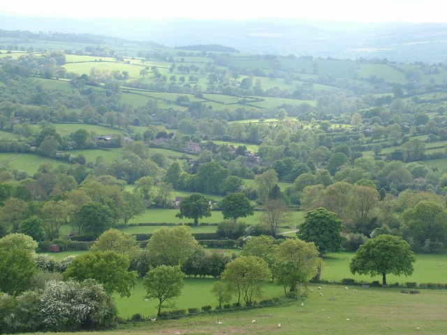 Clee St.Margaret Overlooking the patchwork of fields and hedges around the village from the rim of Nordy Bank Iron-Age hill fort