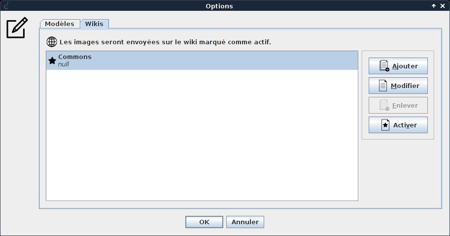 Wikis configuration window.