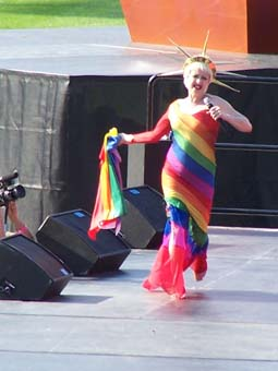 Lauper performing at the Gay Games VII, Wrigley Field, July 22, 2006