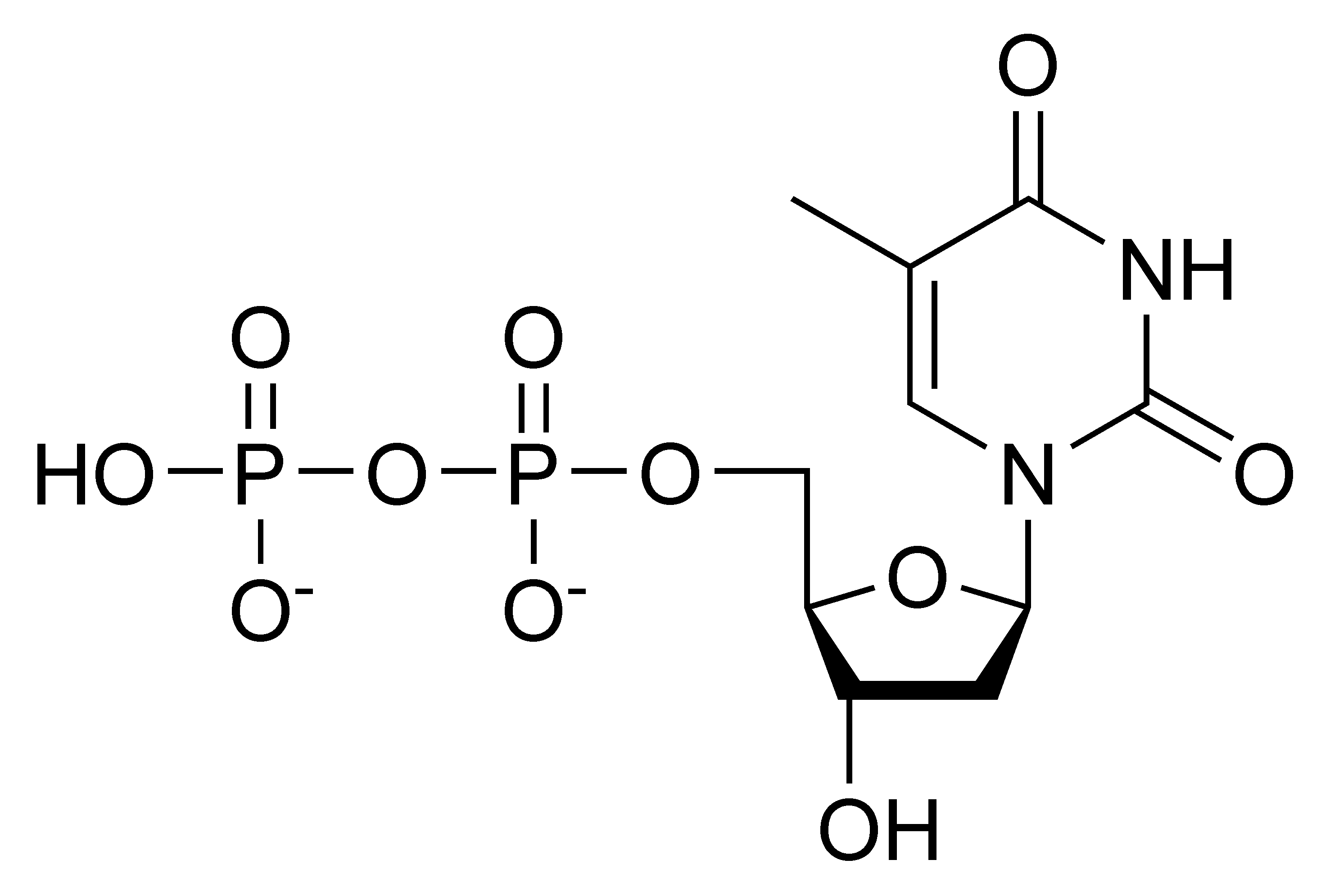 Chemical structure of deoxythymidine diphosphate