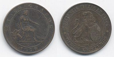 5 céntimos de peseta, o perra chica.