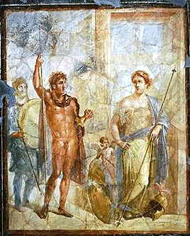 A mural in Pompeii, depicting the marriage of Alexander to Barsine (Stateira) in 324 BC; the couple are apparently dressed as Ares and Aphrodite. Mosaica.jpg