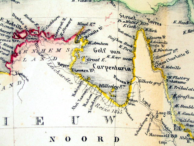 """The Gulf of Carpentaria from an 1859 Dutch map  Portion of a map entitled """"Australie"""" by Otto Petri, Rotterdam, Holland 1859, showing the Gulf of Carpentaria"""
