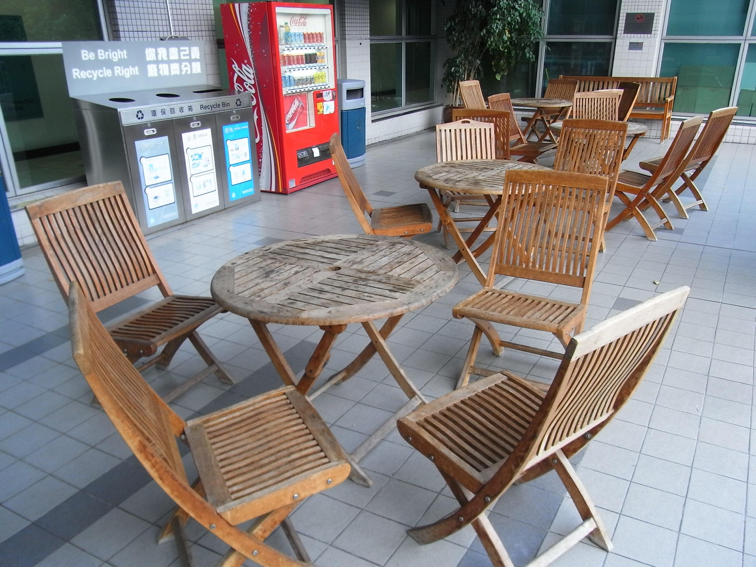 Wooden garden furniture with lazy susan