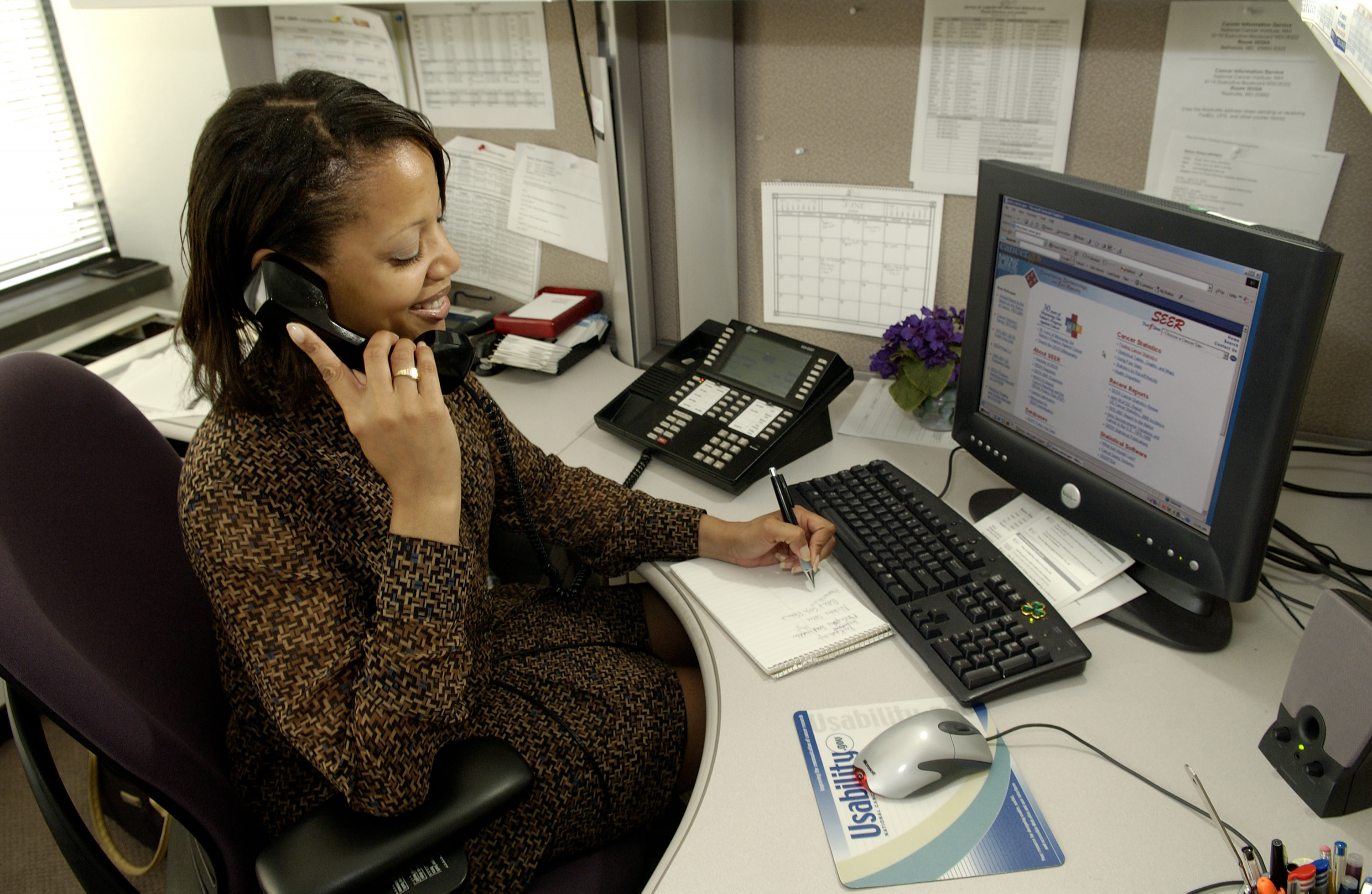 African American Woman Working at Desk