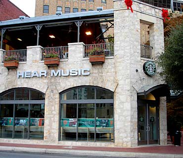 Starbucks' second Hear Music Coffeehouse at the South Bank development adjacent to the River Walk in downtown San Antonio, Texas.