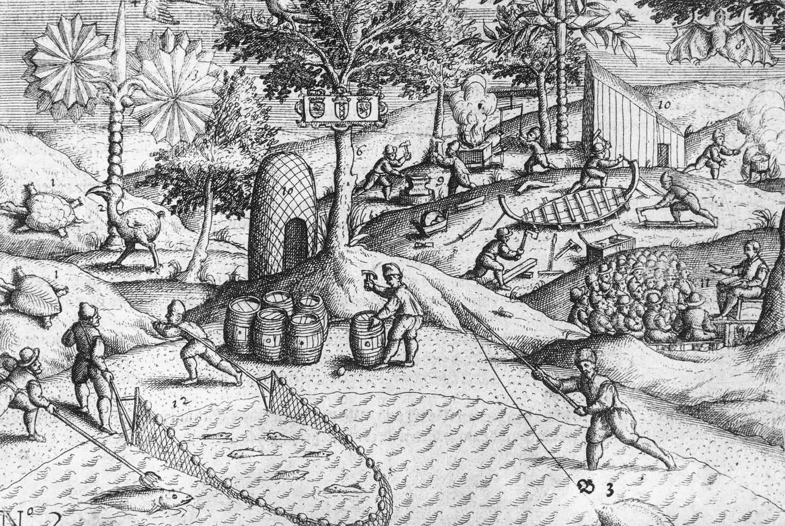 Dutch activities on the shore of Mauritius, as well as the first published depiction of a [[dodo