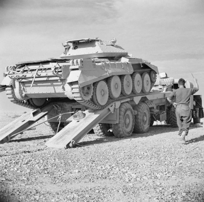 A Crusader tank on a Scammell transporter