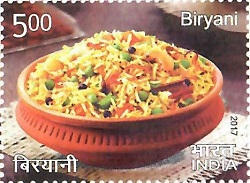 Biryani depicted on a 2017 stamp of India