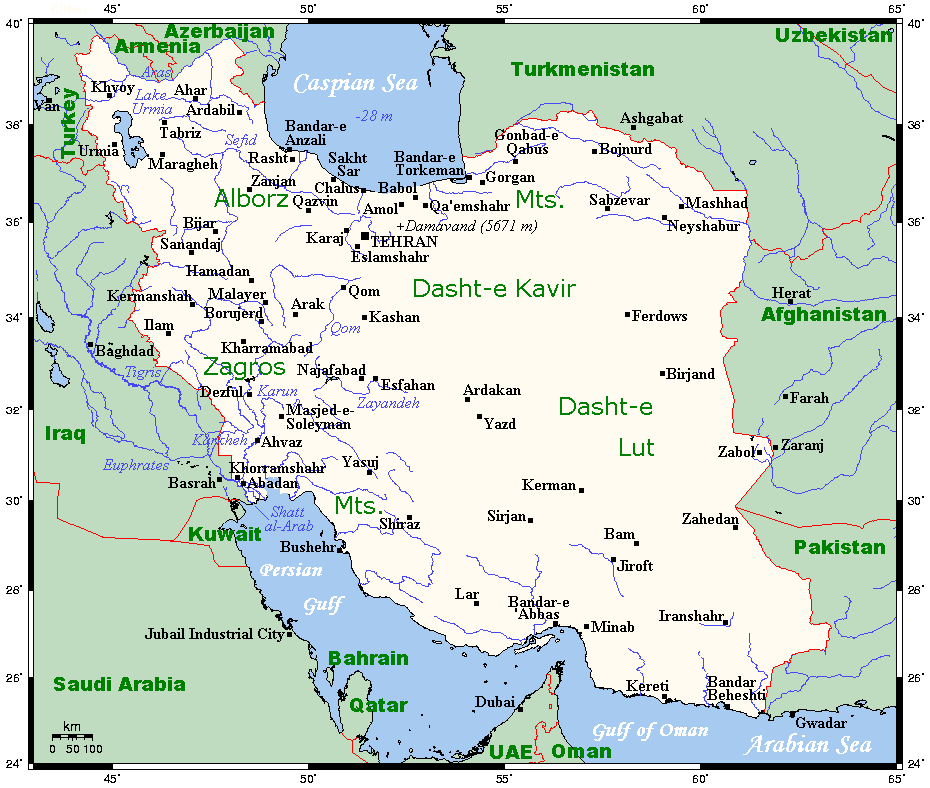 Map of iran cities