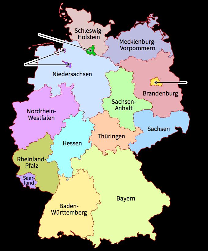 thumbLandkarte mit den sechzehn Bundesländern Deutschlands