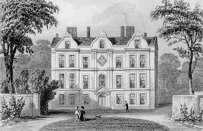 The Dutch House in 1835, showing Queen Charlotte's funeral hatchment hanging from its facade; this is now on show in the building. Kew Palace from Thomas Dugdale's Curiosities of Great Britain (1835).jpg