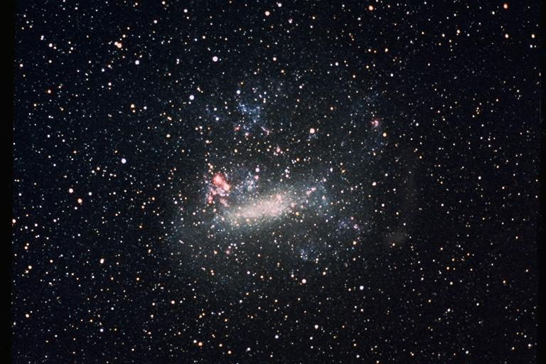 Large Magellanic Cloud with Tarantula Nebula to the left
