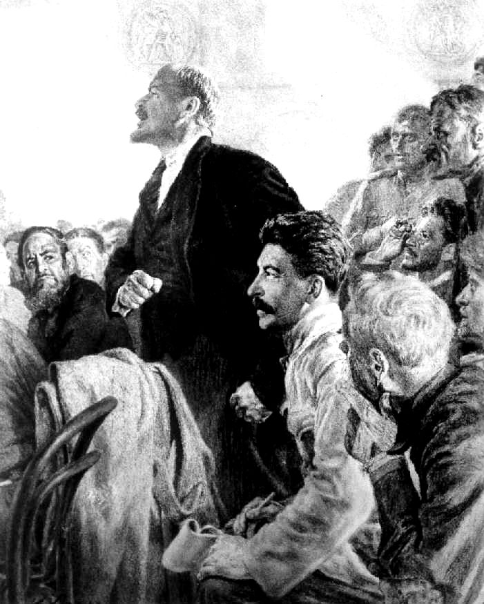 Lenin with Stalin, from an Albanian stamp