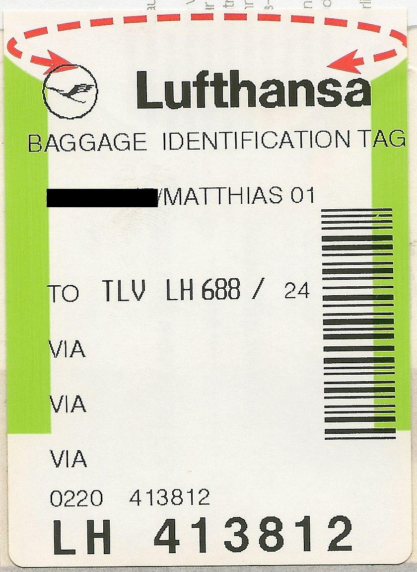 File Lufthansa Baggage Identification Tag Jpg