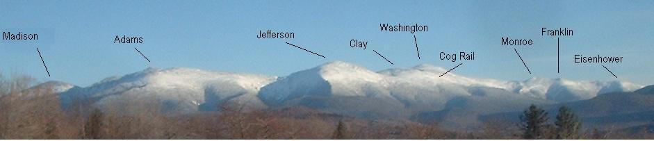 New Hampshire USA Presidential Range, winter, summits labeled, view from Starr King, NH, via Wikimedia.