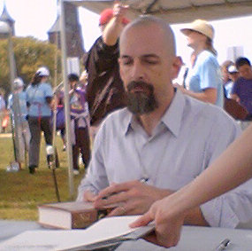 Neal Stephenson doing a book signing at the Na...