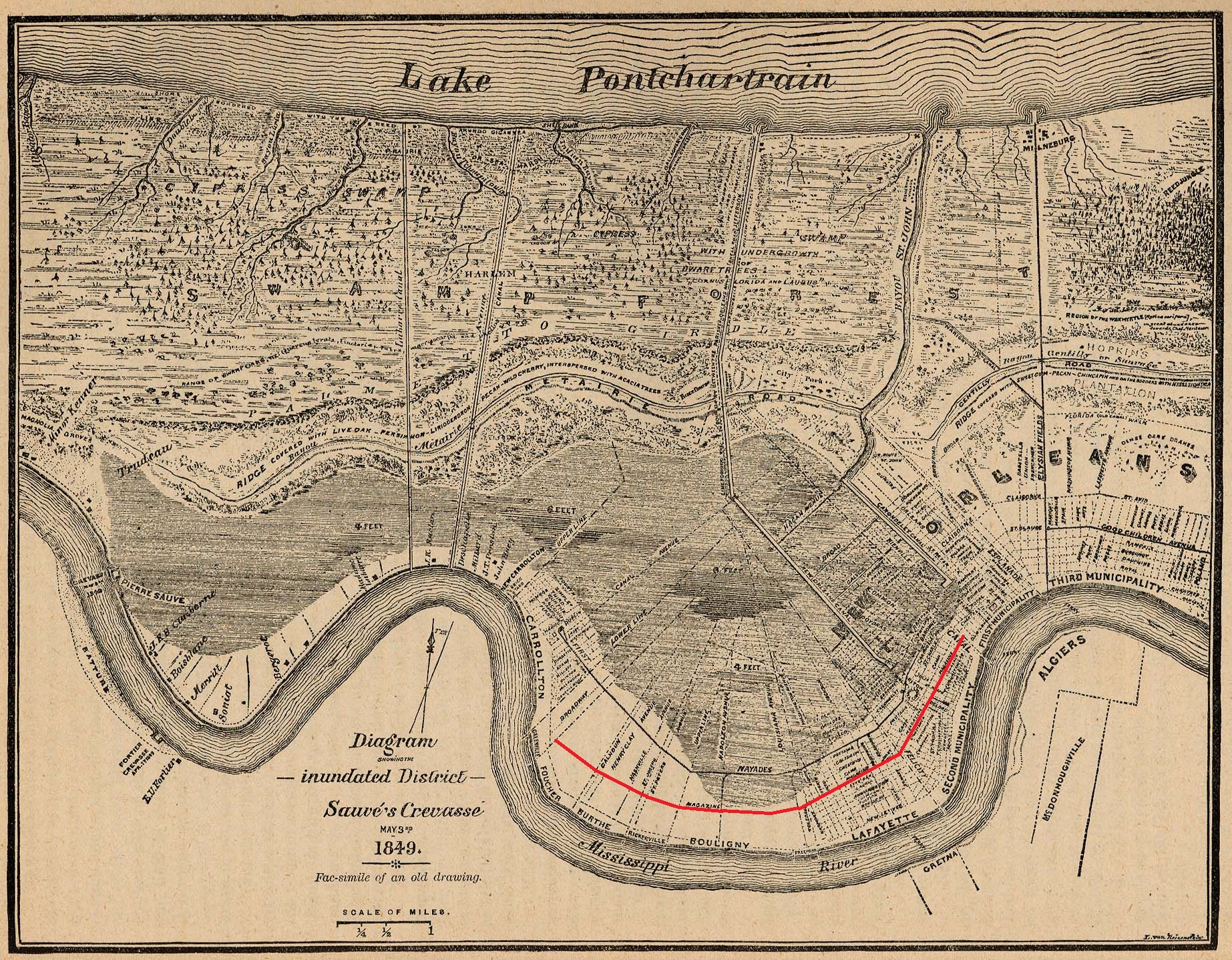 Magazine Street New Orleans Map.File New Orleans Map 1849 With Magazine Street Highlighted In Red