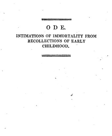 Ode: Intimations of Immortality Summary