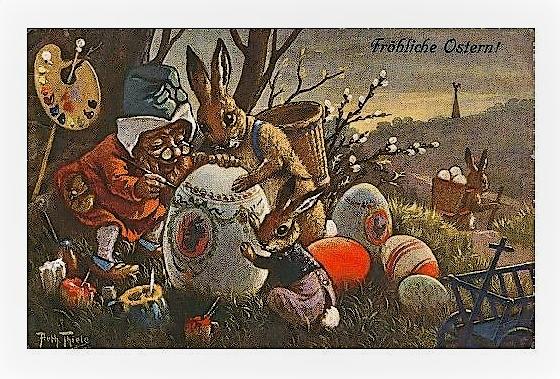 Osterpostkarte. Arthur Thiele (1919) zwerg bemalt ostereier.jpg