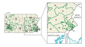 Map of Pennsylvania, depicting its congressional districts since the 108th Congress.