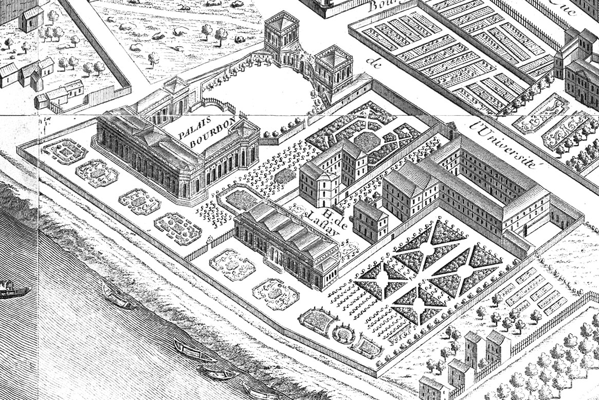 The Palais Bourbon (upper left) and the Hôtel de Lassay (lower right), as depicted on the Turgot map of Paris (1739)