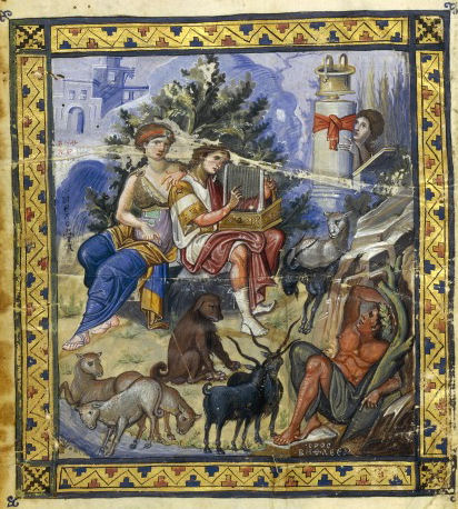 David Composing the Psalms, Paris Psalter, 10th century Paris psaulter gr139 fol1v.jpg