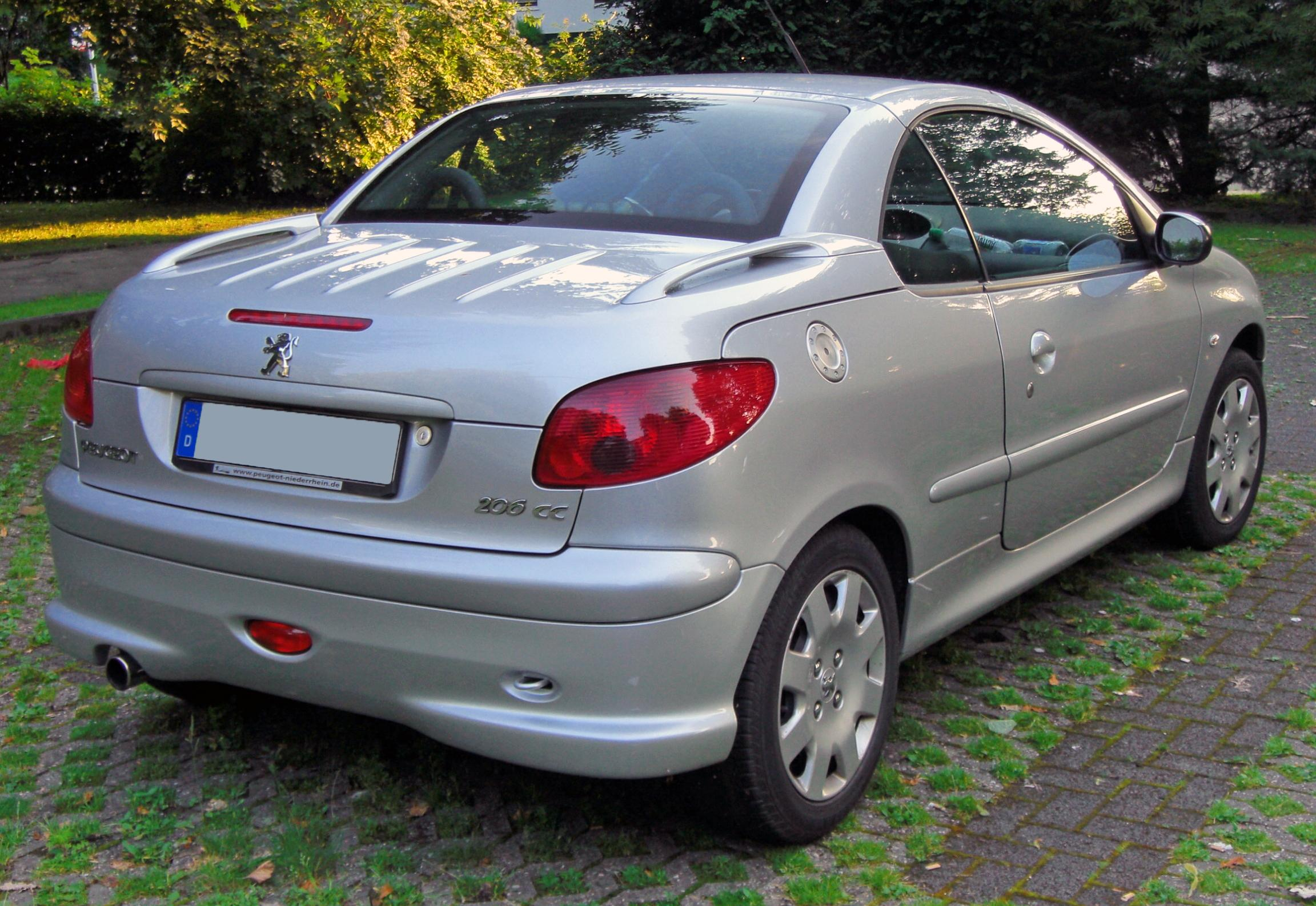 file peugeot 206 cc 20090612 rear jpg wikipedia. Black Bedroom Furniture Sets. Home Design Ideas