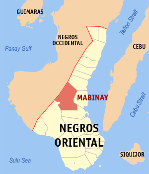 Map of Negros Oriental showing the location of Mabinay