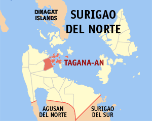 Map of Surigao del Norte showing the location of Tagana-an