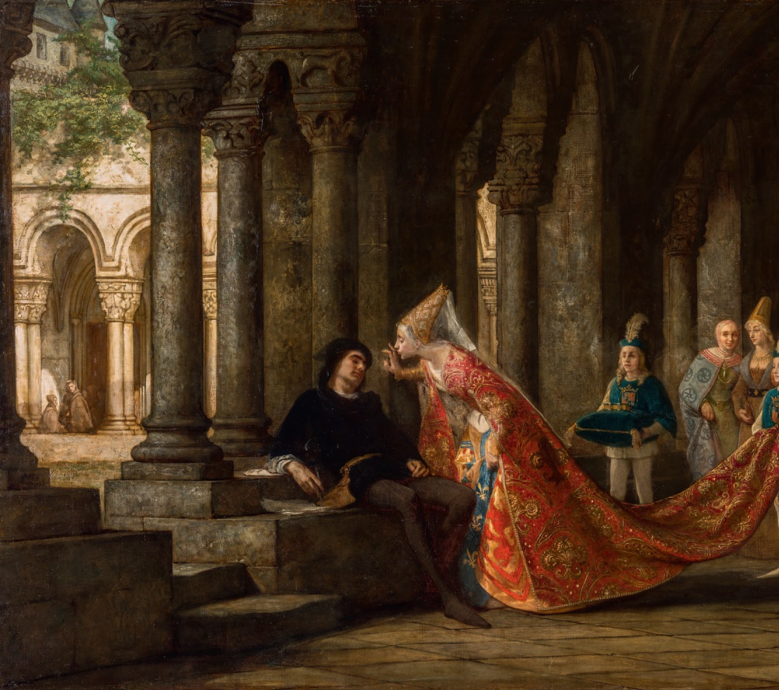 """""""Alain Chartier and Margaret of Scotland"""", or """"The Kiss"""" (detail), painting by Pierre-Charles Comte, 1859"""