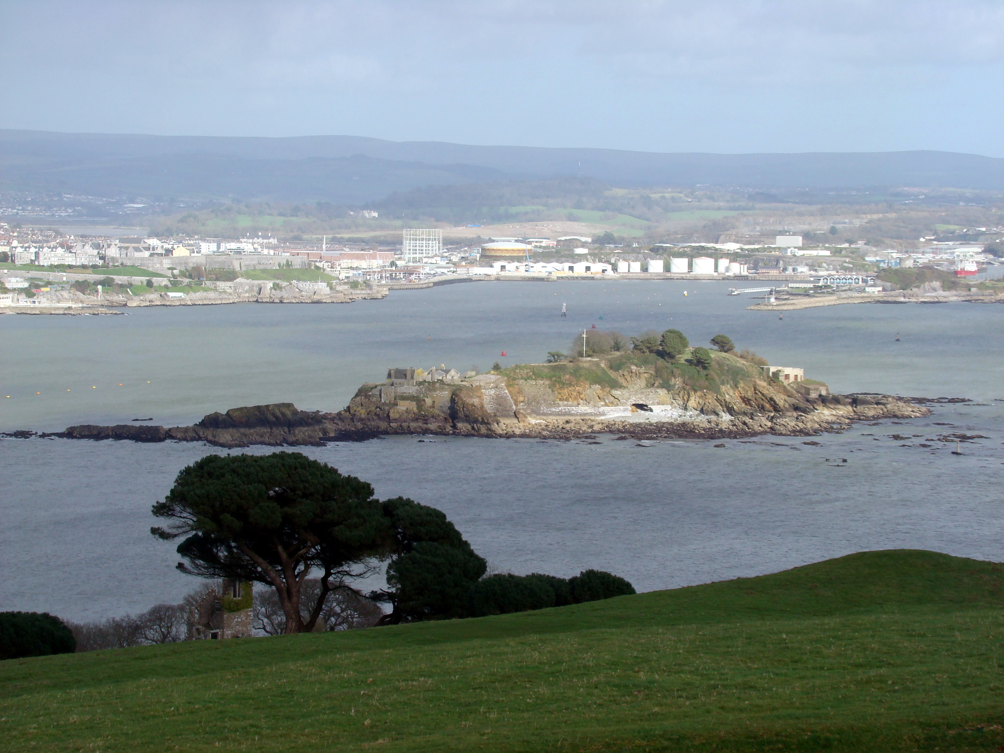An image of Drake's Island in Plymouth Sound.