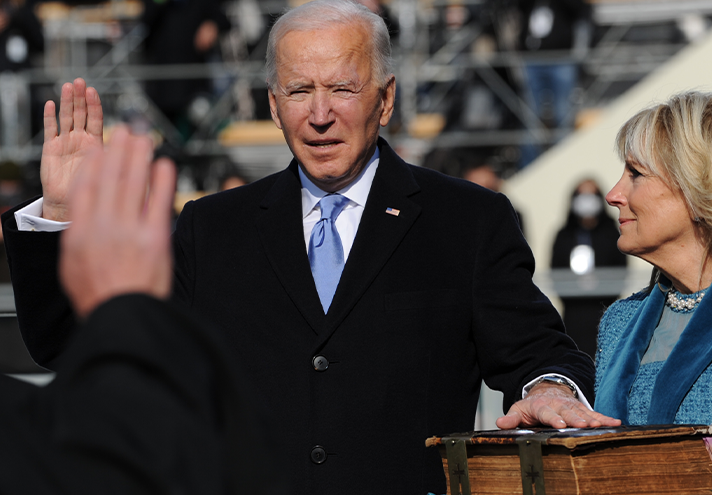 Biden takes the oath of office administered by Chief Justice John G. Roberts Jr. at the Capitol, January 20, 2021