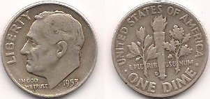 English: A Silver Roosevelt Dime from 1953.